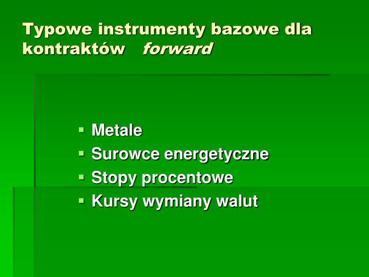 Typowe instrumenty bazowe dla  kontraktów