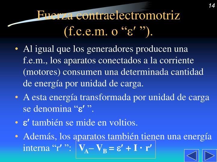 """Fuerza contraelectromotriz (f.c.e.m. o """""""