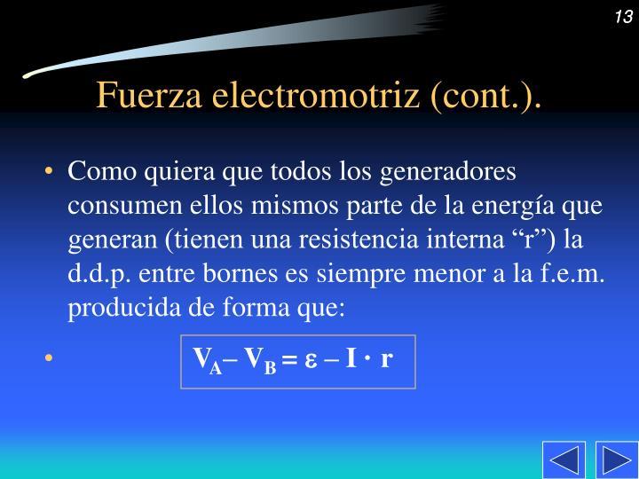 Fuerza electromotriz (cont.