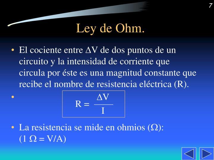 Ley de Ohm.