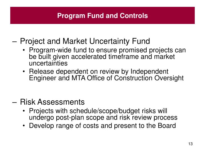 Program Fund and Controls
