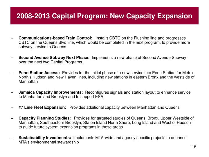 2008-2013 Capital Program: New Capacity Expansion