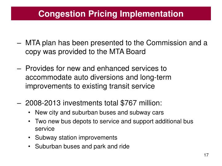 Congestion Pricing Implementation