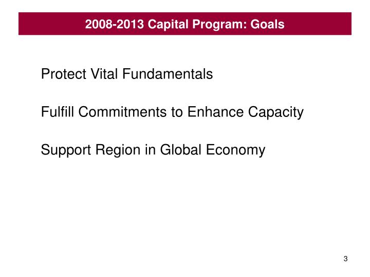 2008-2013 Capital Program: Goals