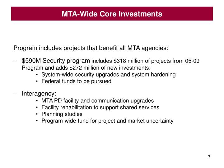 MTA-Wide Core Investments