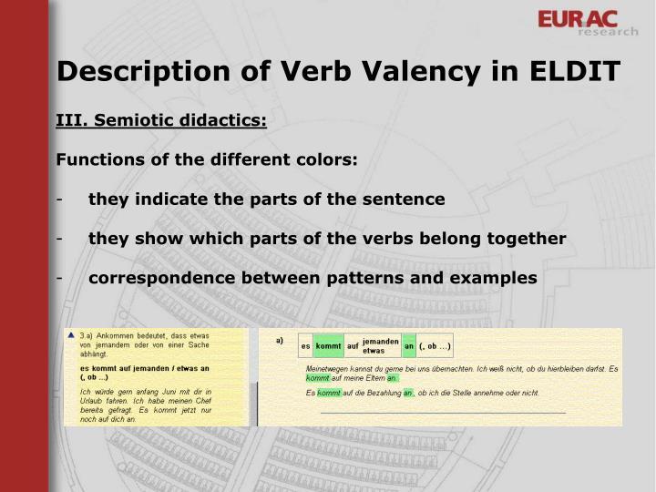 Description of Verb Valency in ELDIT