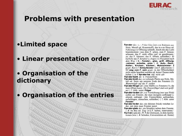 Problems with presentation