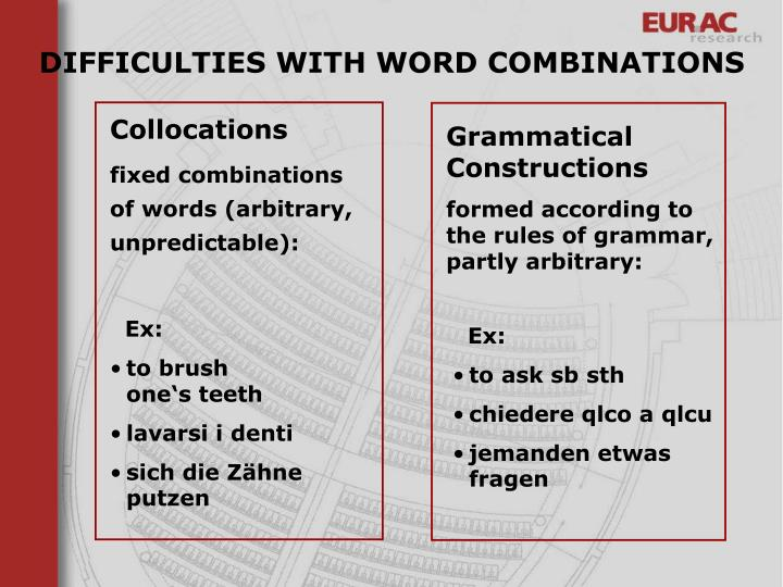 DIFFICULTIES WITH WORD COMBINATIONS
