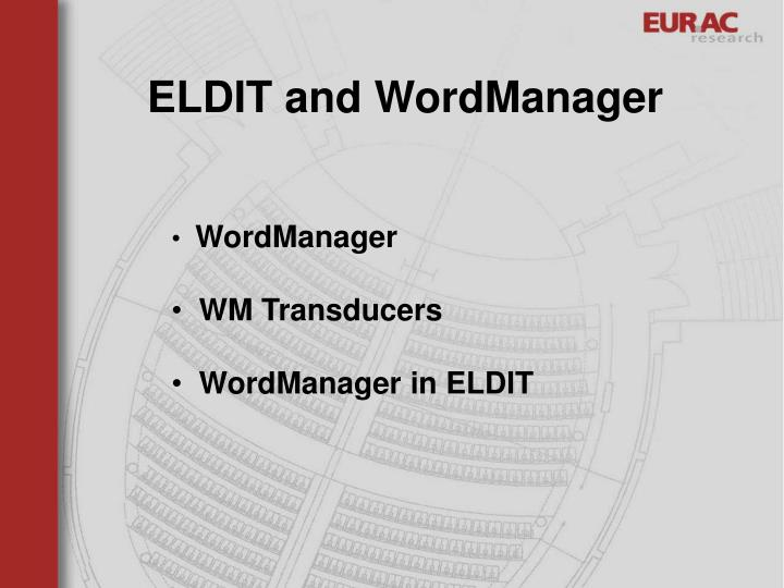 ELDIT and WordManager