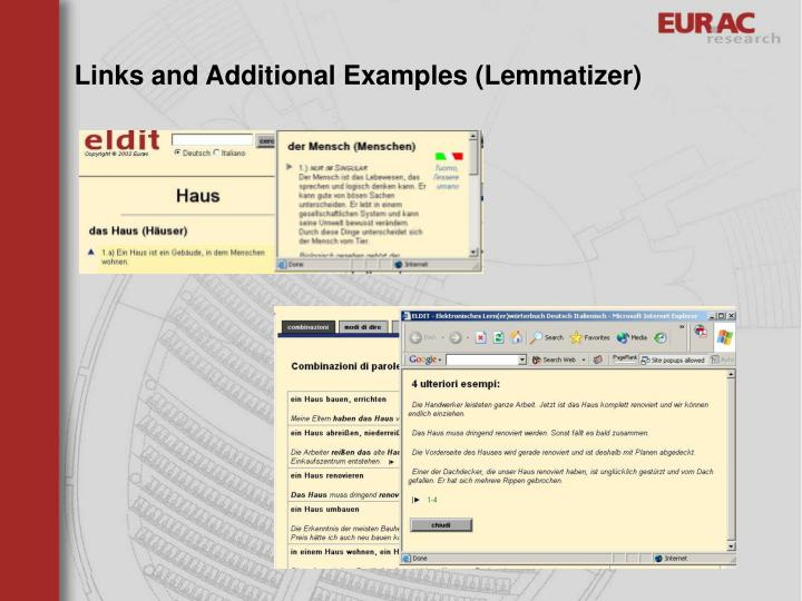 Links and Additional Examples (Lemmatizer)