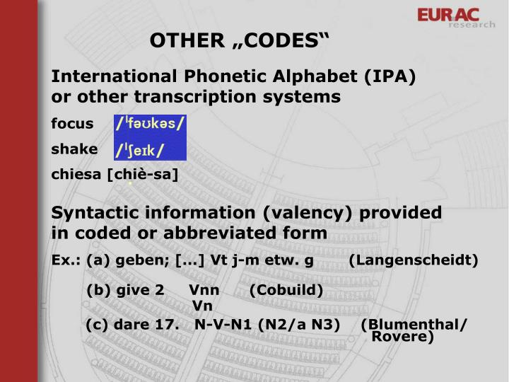 "OTHER ""CODES"""