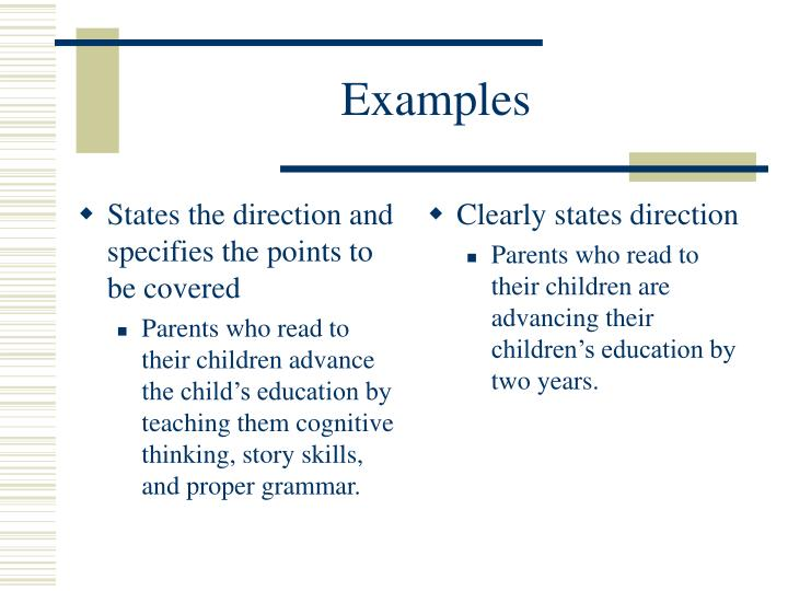 States the direction and specifies the points to be covered