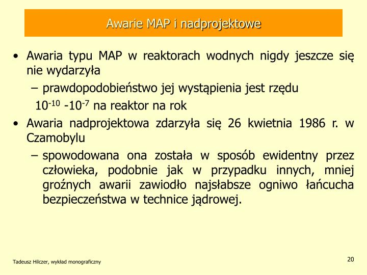 Awarie MAP i nadprojektowe