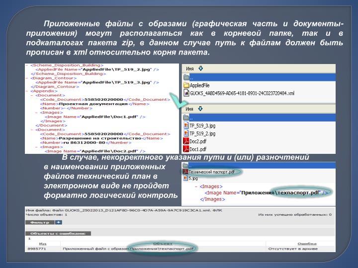 Приложенные файлы с образами (графическая часть и документы-приложения) могут располагаться как в корневой папке, так и в подкаталогах пакета z