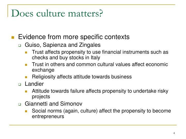 Does culture matters?