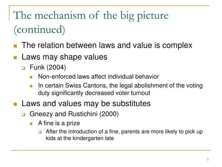 The mechanism of the big picture (continued)