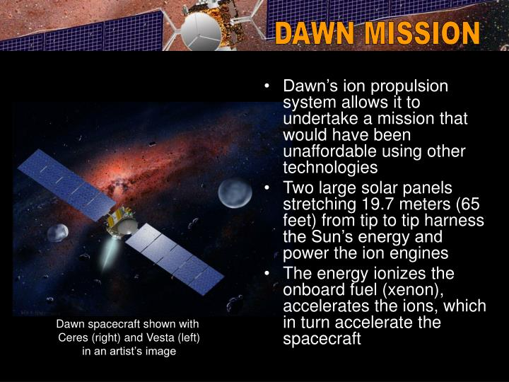 Dawn's ion propulsion system allows it to undertake a mission that would have been unaffordable using other technologies
