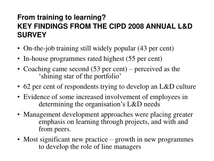 From training to learning?