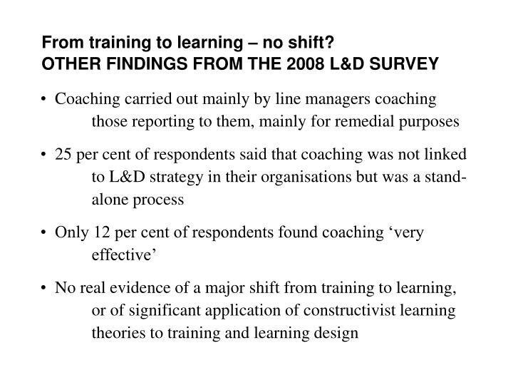 From training to learning – no shift?