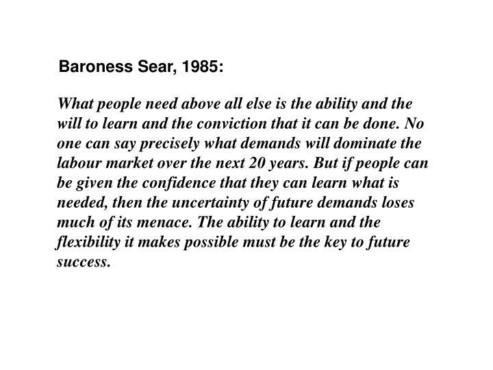 Baroness Sear, 1985:
