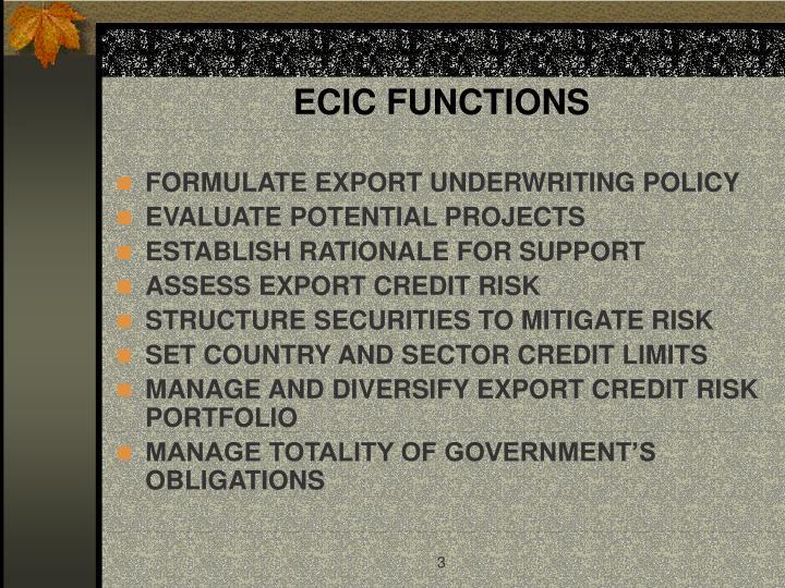 ECIC FUNCTIONS