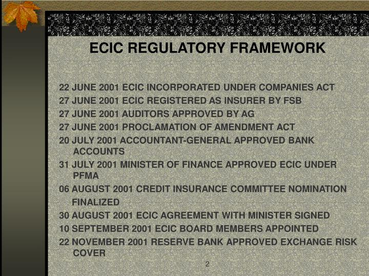 Ecic regulatory framework