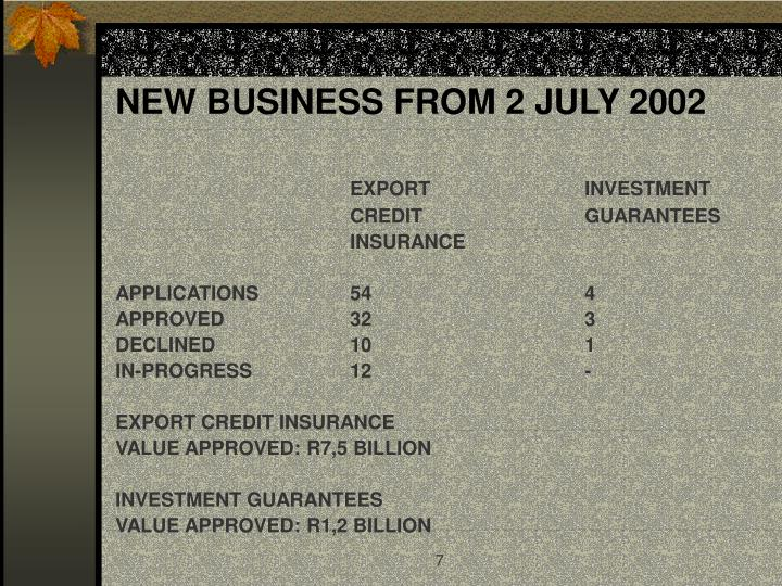 NEW BUSINESS FROM 2 JULY 2002