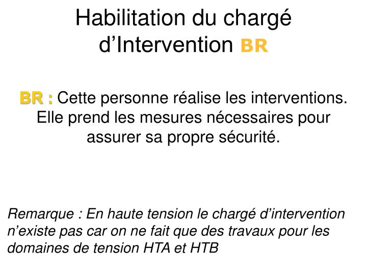 Habilitation du chargé d'Intervention