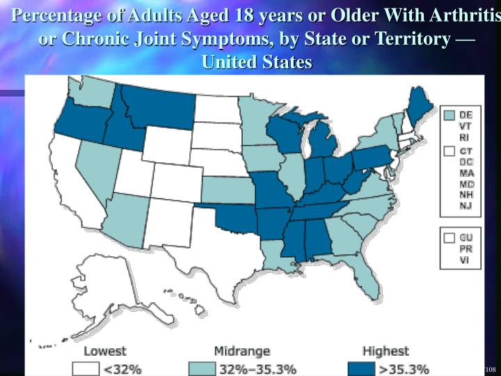 Percentage of Adults Aged 18 years or Older With Arthritis or Chronic Joint Symptoms, by State or Territory —