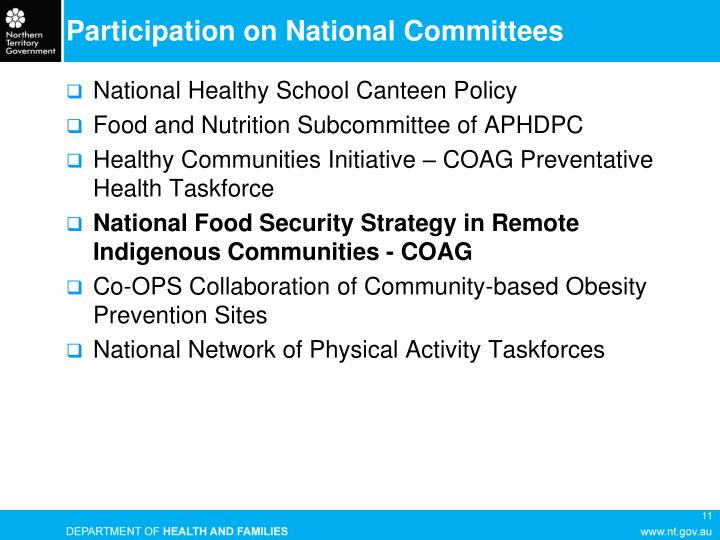 Participation on National Committees