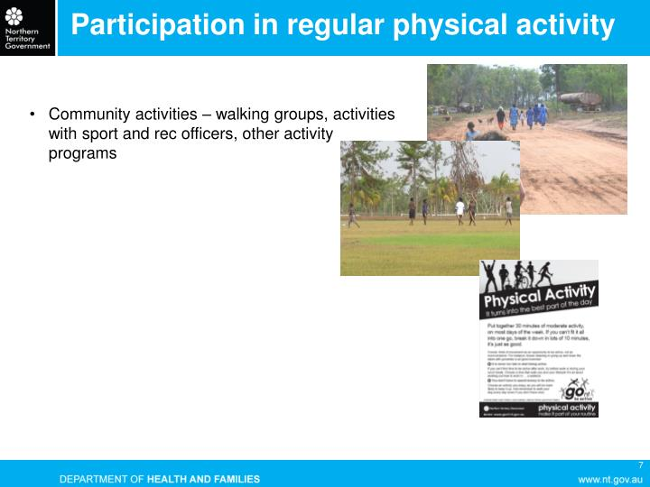 Participation in regular physical activity