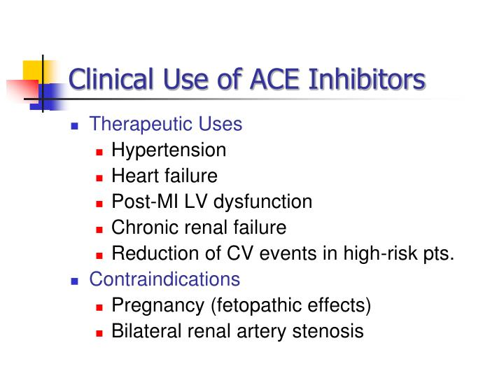 Clinical Use of ACE Inhibitors