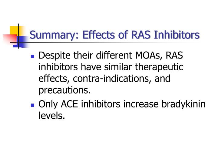 Summary: Effects of RAS Inhibitors