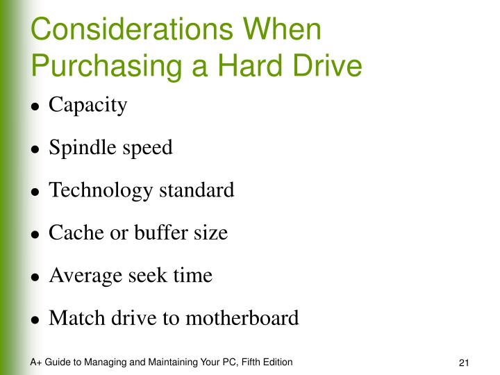 Considerations When Purchasing a Hard Drive
