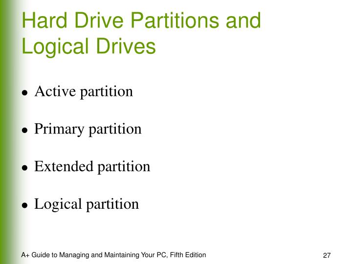 Hard Drive Partitions and Logical Drives