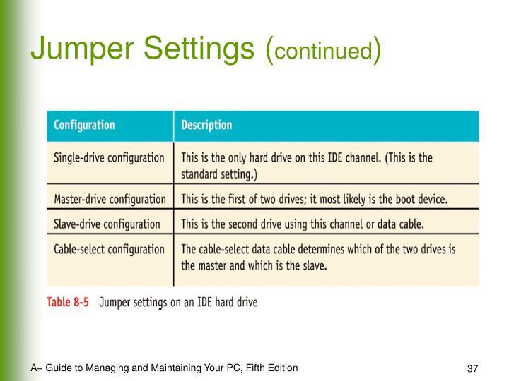Jumper Settings (