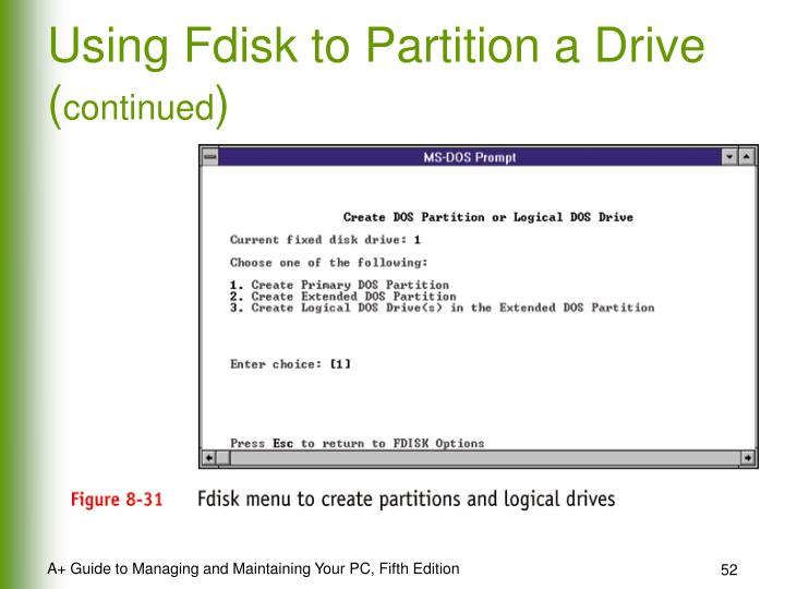 Using Fdisk to Partition a Drive (