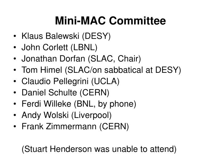 Mini-MAC Committee