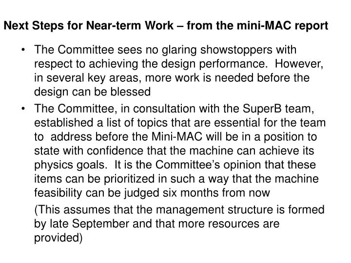 Next Steps for Near-term Work – from the mini-MAC report