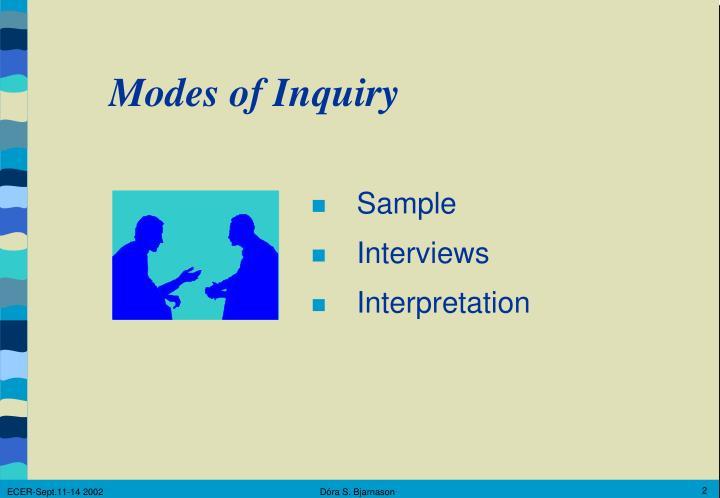 Modes of Inquiry