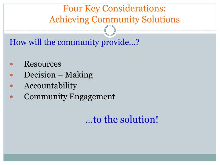 Four Key Considerations: