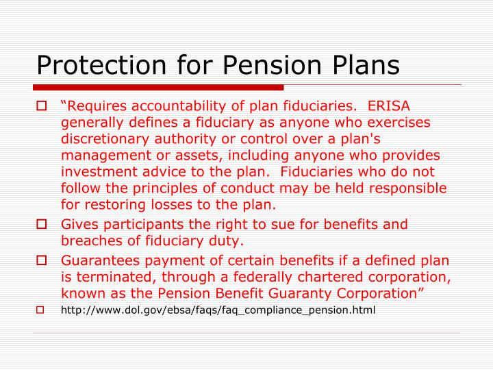 Protection for Pension Plans