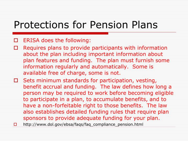 Protections for Pension Plans