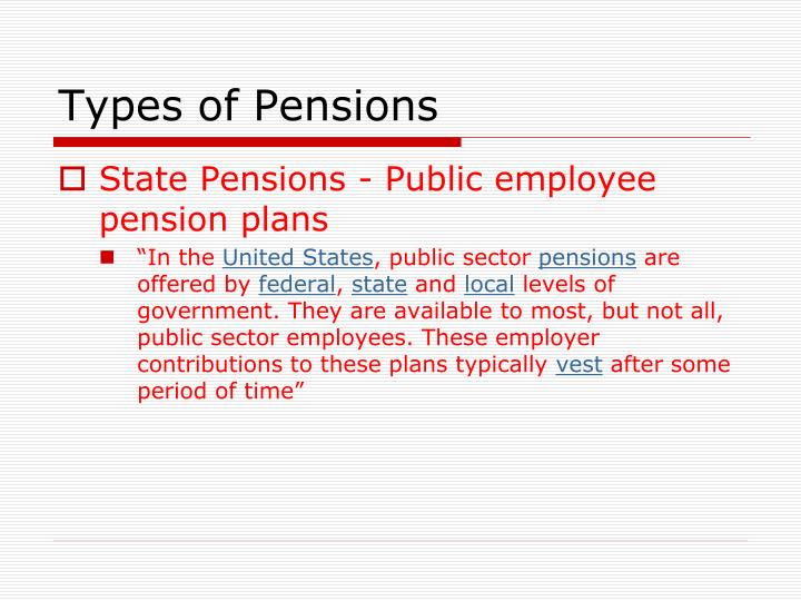 Types of pensions
