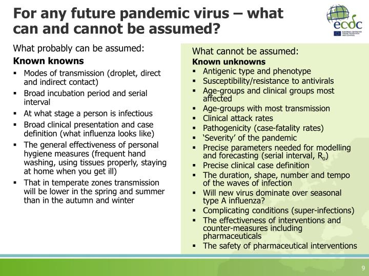 For any future pandemic virus – what can and cannot be assumed?