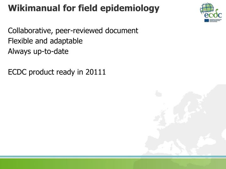 Wikimanual for field epidemiology