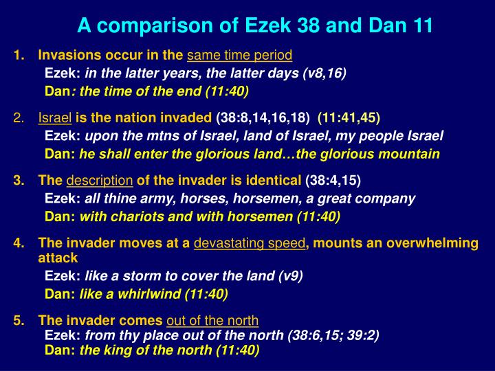 A comparison of Ezek 38 and Dan 11