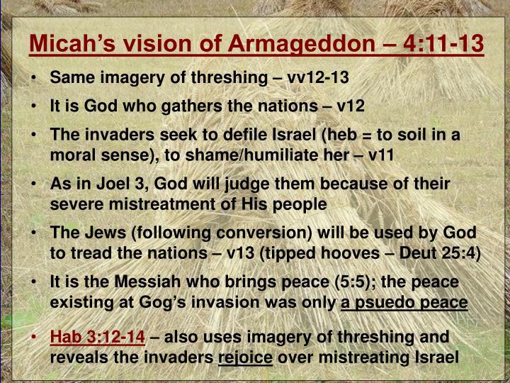 Micah's vision of Armageddon – 4:11-13