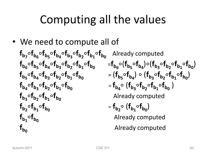Computing all the values