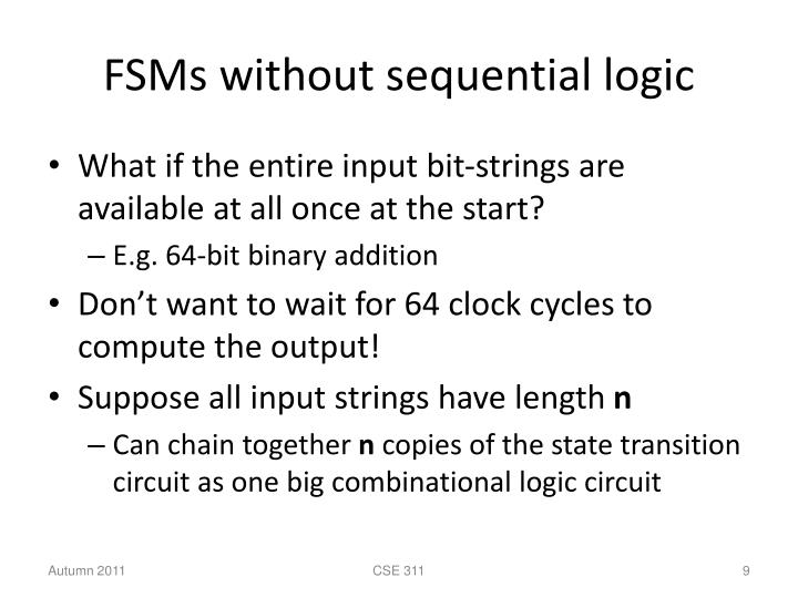 FSMs without sequential logic